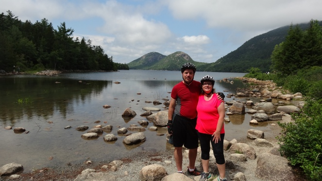 My sweetie and I on our 20th wedding anniversary, at Jordan Pond, Acadia National Park